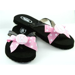 cba0e326e Our Monogrammed Flip Flops are one of a kind and cute as a button! Choose  from our black flip flops that feature a bow tied